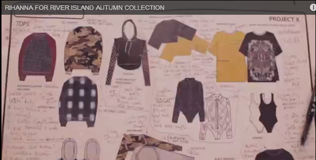 Bandana T-shirt sketch (top right hand corner) from 'Behind the Scenes: Rihanna for River Island)