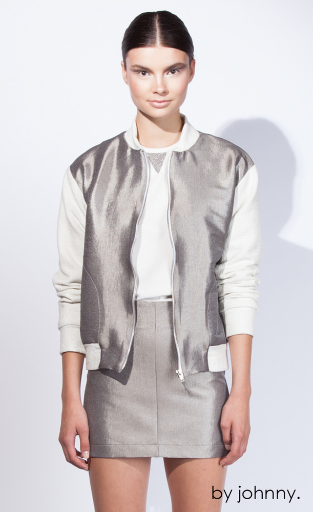 Metallic Bomber, Silver Smoke Ivory, Johnny B, $300