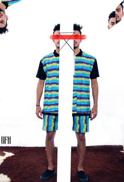 Unisex Kente golf shirt Kente tuxedo short